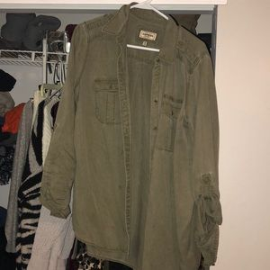 A button down army green shirt from express.